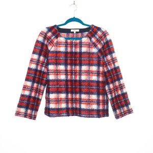 Madewell | Blush Plaid Pullover Top S